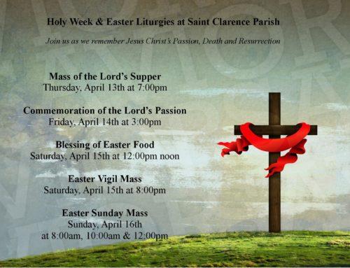 Holy Week & Easter Liturgies at Saint Clarence Parish
