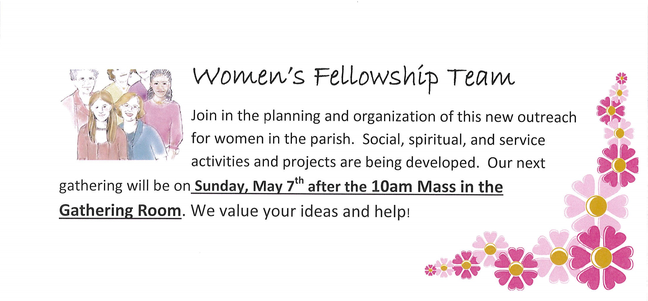 women's ministry - next breakfast meeting sunday, may 7th - the